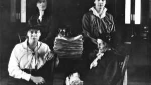 Amelia Burritt at bottom right, and then (clockwise) Dr. Mary Crawford, Winona Flett Dixon, and Lillian Beynon Thomas. Source: Manitoba Archive.