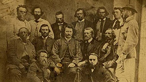 Louis Riel (centre) with councillors from the Metis Legislative Assembly of Assiniboia